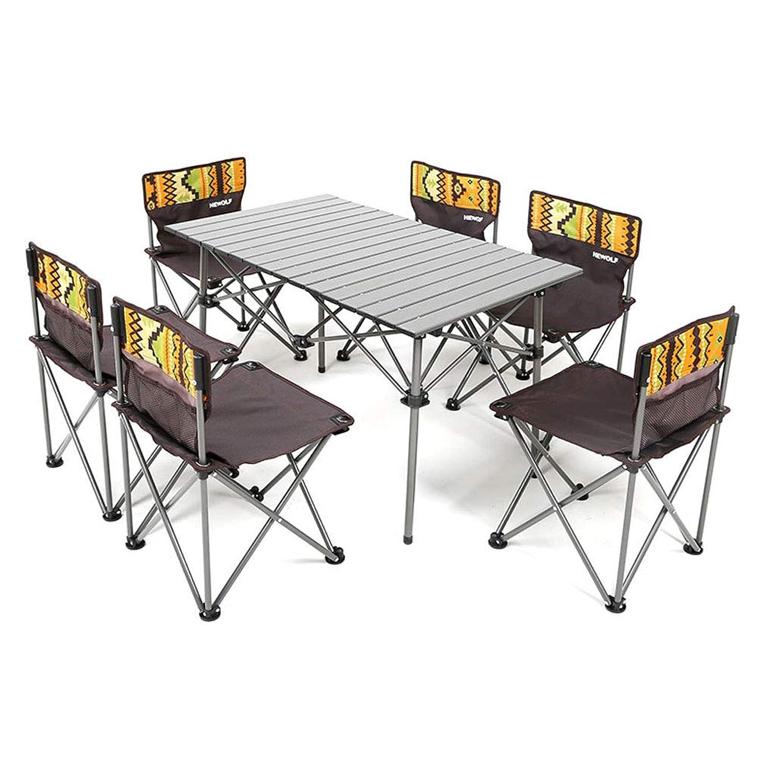 玉バスト科学的折り畳み テーブル チェア 6脚セット ピクニックテーブル アルミテーブル 組立簡単 軽量 持ち運び便利 背もたれ付き 収納袋付き キャンプ アウトドア