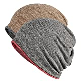 FORTREE 2 Pack Multifunction Slouchy Beanie for Jogging, Cycling (1+4)