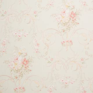 Cottage Floral Green Shabby Chic Wallpaper for Walls - Double Roll -Romosa Wallcoverings LL7543