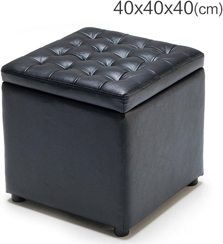 Leather Square shoes Stool Storage Shelves Storage Couch Storage Box Home Stores Storage Stool Multi-Functional Storage Stool (color   Black, Size   404040cm)