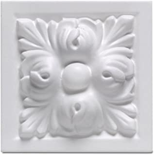 Focal Point 97730 Madison Block Rosette 3 7/8-Inch by 3 7/8-Inch by 1 1/2-Inch, Primed White