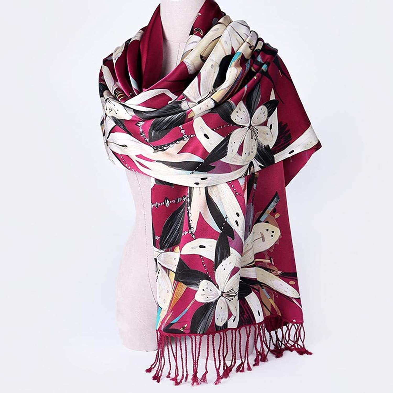 Paioup Ladies silk scarves silk shawl autumn and winter silk shawl warm double fleece Perfectly expresses unique temperament