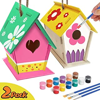 QoFina Birdhouse Kit DIY Bird House Kit: construcción y Pintura de Arte de Madera para Casas de pájaros al Aire Libre para Que los niños Puedan Crear y Decorar