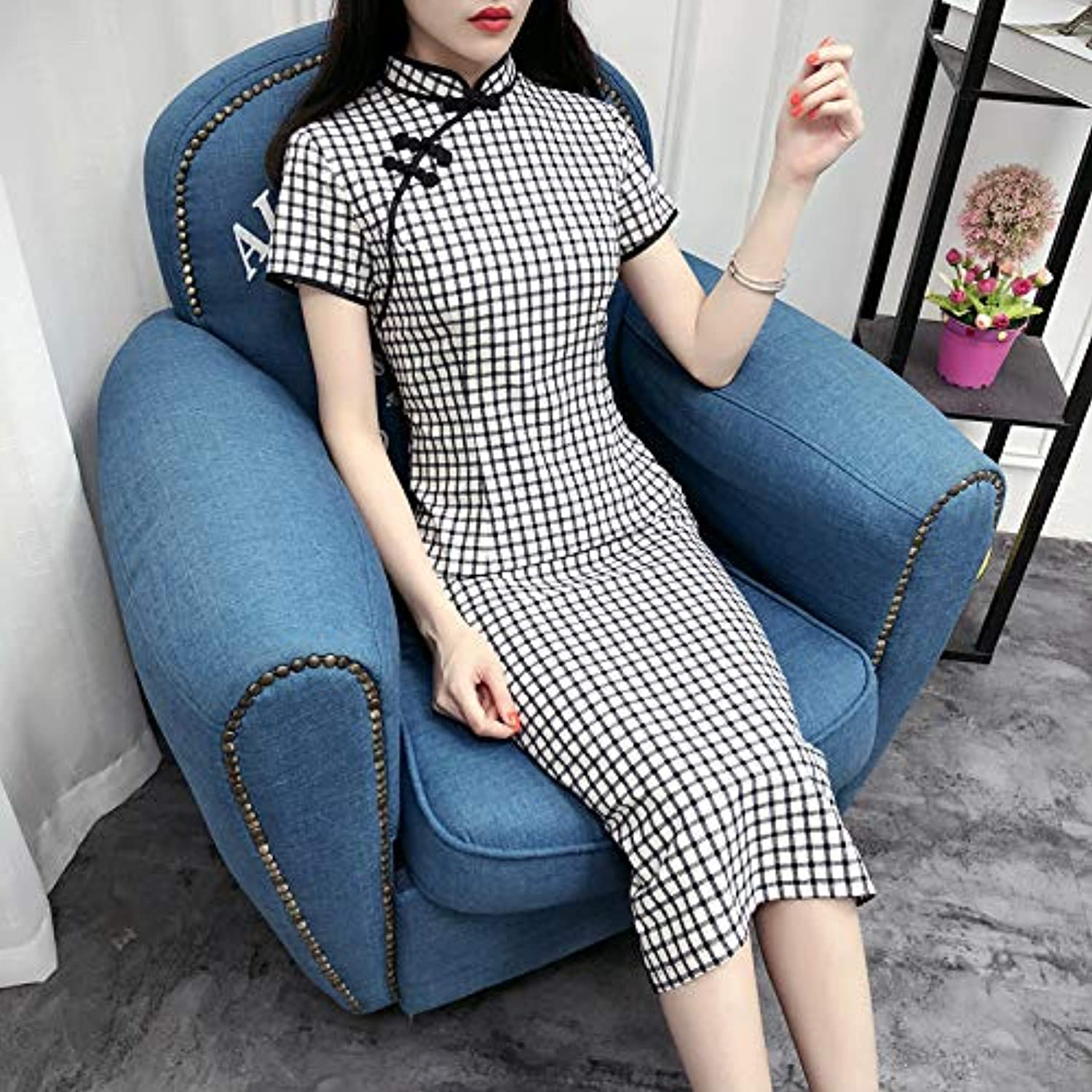 Qingxi Plaid Cheongsam In The Long Section Of The Female Summer Lady Temperament Slim Thin Cheongsam Dress
