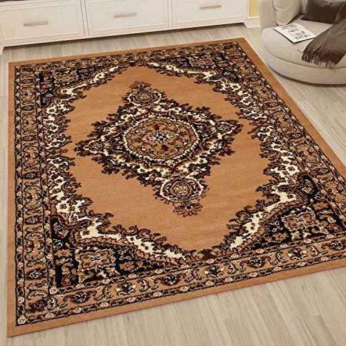VIMODA Klassisch Orient Teppich dicht gewebt Wohnzimmer Braun Beige, Maße:80x300 cm