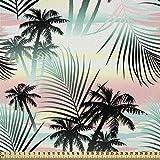 ABAKUHAUS Hawaii Stoff als Meterware, Sommer Palmen Farn,
