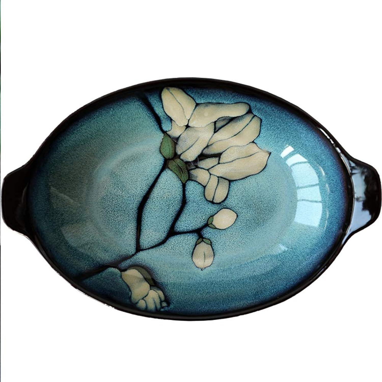 Assiette Ovale Japonaise Créative En Céramique Vaisselle Ovale Double Oreille Poisson Assiette Personnalité Créative Assiette Plat Restaurant Créatif