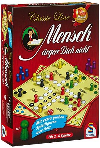 Schmidt Spiele 49085 Classic Line, Mensch ärgere Dich Nicht, mit extra großen Spielfiguren aus Holz, bunt