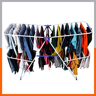 Magna Homewares Super Robusto Heavy Duty Steel Foldable Cloth Drying Stand with Unique Feature of Shoe Drying and Socks Holde