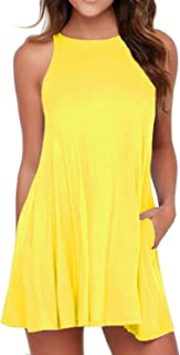 HiMONE Women's Sleeveless Dress Pockets Casual Swing T-Shirt Dresses