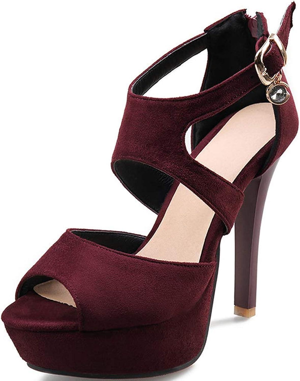 GIY Women's Platform High Stiletto Heel Sandals Peep Toe Comfort Slingback Strappy Buckle Back Zipper Dress Pump Chunky Heel Sandals