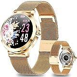 ANMI Smartwatch Donna, IP68 ImpermeabileFitness Tracker Donna,Gestione del Ciclo Femminile Cardiofrequenzimetro Monitor della Pressione sanguigna Monitor del Sonno Orologio da Polso da Donna(Oro)