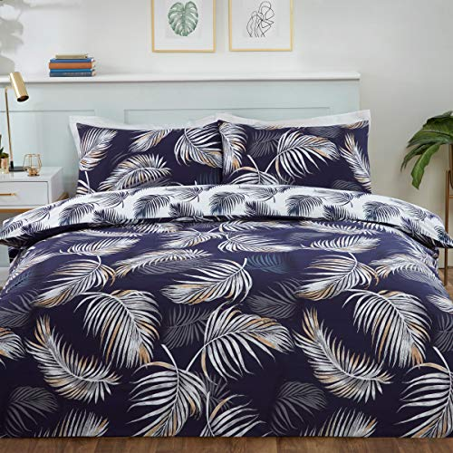 Sleepdown Tropical Palm Leaves Floral Navy Blue White Reversible Soft Easy Care Duvet Cover Quilt Bedding Set with Pillowcases - King (230cm x 220cm)