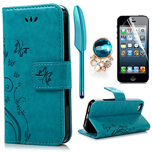 iPhone 5 5S SE Wallet Hülle iPhone 5 5S SE Flip Hülle YOKIRIN Schmetterling Blumen Muster Handyhülle Schutzhülle PU Leder Hülle Skin Brieftasche Ledertasche Tasche im Bookstyle in Blau