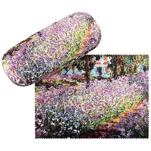 VON LILIENFELD Brillenetui Blumen Hardcase Box Leicht Edel Geschenk Stabil Set mit Putztuch Damen Herren Floral Kunst Motiv Claude Monet: Garten