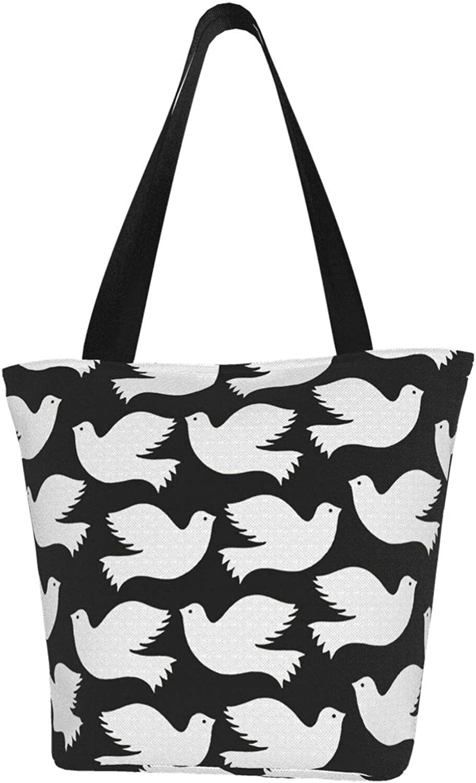 Lovely Black Peace Dove Themed Printed Women Canvas Handbag Zipper Shoulder Bag Work Booksbag Tote Purse Leisure Hobo Bag For Shopping