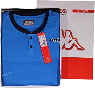 Viterbo Biancheria Pigiama Uomo Caldo Cotone Kappa KMW17809 Manica Lunga e Pantalone Lungo (Azzurro, L)