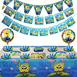 Set of 115Pcs Spongebobs Birthday Party Supplies and Decorations for Boys Girls 1st Kids Includes Candy Bags Plates Balloons Kit Table Cloth Banner