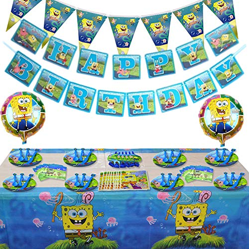 SpongeBob Birthday Party Supply Set (Serves 10 Guests)