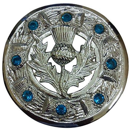Scottish Kilt Fly Plaid Brooch Sky Blue Stone Chrome Finish 3'/Highland Thistle Heritage Brooches