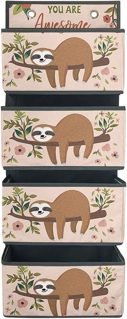UZZUHI Ranking TOP7 4 Pocket Wall Door Closet Sloth Pink Bag Hanging High order Storage