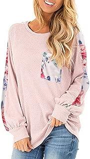 Kulywon Women's Long Balloon Sleeve Knit Shirts Printed Loose Tunic Top Pullover Sweater