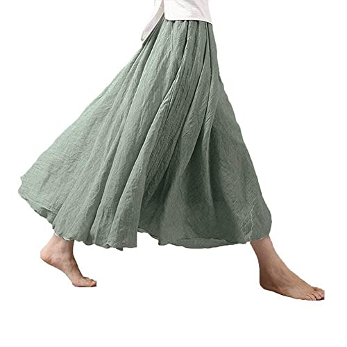 85b51f7a01 Asher Women's Bohemian Style Elastic Waist Band Cotton Linen Long Maxi Skirt  Dress Waist 23.0