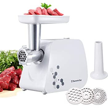 Sunmile Electric Meat Grinder and Sausage Maker - 1HP 1000W Max - Stainless Steel Cutting Blade and 3 Grinding Plates,1 Big Sausage Staff Maker (White)