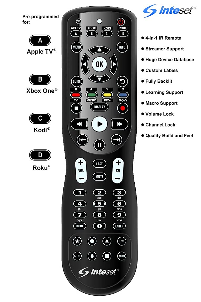 Inteset 4-in-1 Universal Backlit IR Learning Remote for use with Apple TV, Xbox One, Roku, Media Center/Kodi, Nvidia Shield, most Streamers and other A/V Devices