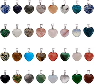 Fashewelry 50PCS Mixed Stone Heart Style Gemstone Pendant Healing Pointed Chakra Crystal Quartz Pendants Charms for Necklace Jewelry Making