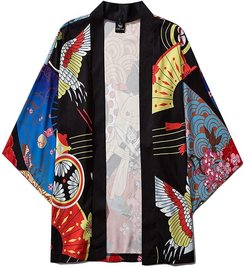 Men's Casual Trendy Open Front 3/4 Sleeve Japanese Style Print Cover Up Cardigan