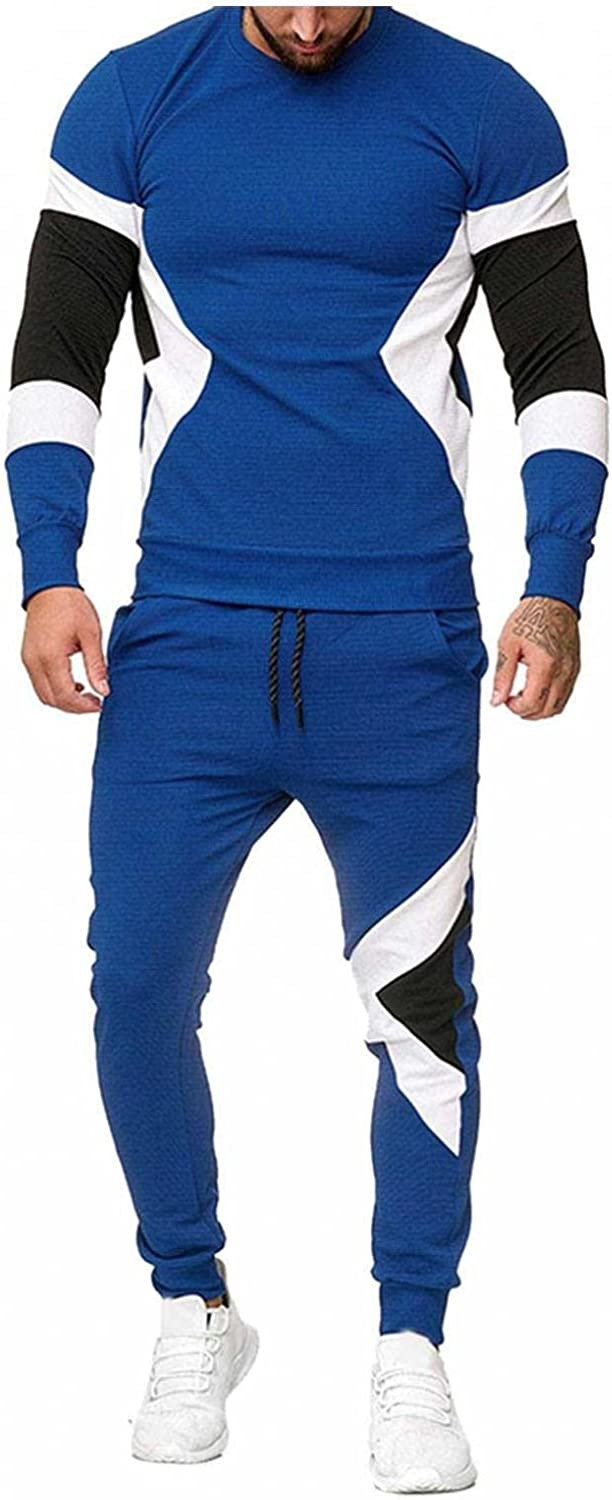 Beppter Mens 2 Piece Sport Sets Long Sleeve Crewneck Pullover Tops & Pants Tracksuits Running Jogging Sweatsuits