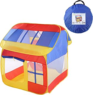 TENCMG Cute House Play House Castle Tent - Pop Up Children Play Tent - Large Children Playhouse Ball Pit w/Storage Case - Can Be Used with Game Tunnels - 43x41x47in