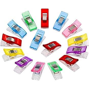 Meiso 50PCS Clips Pinces DIY Pince 2.7 * 1.0 * 1.5cm en ABS pour Reliure Couture Artisanat Couleur aléatoire