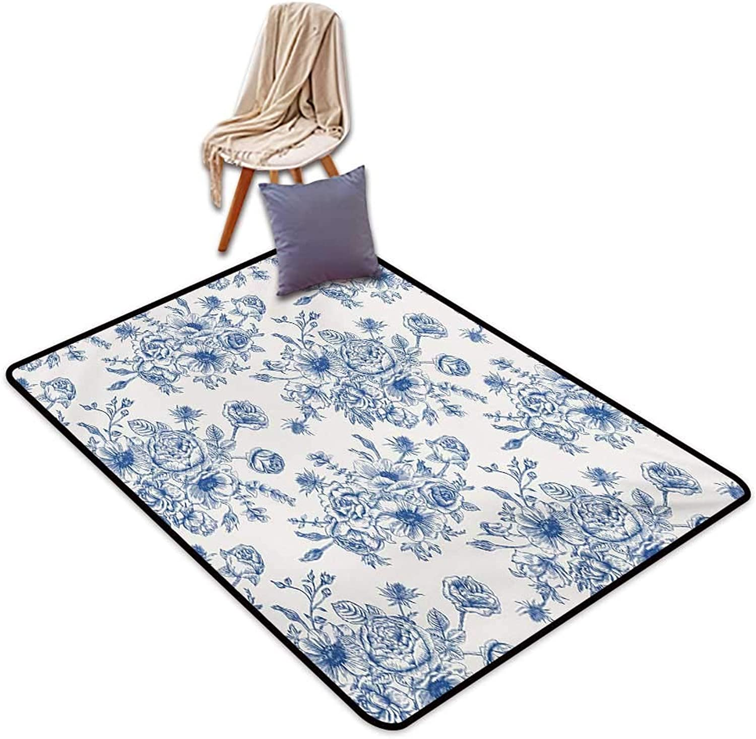 Anemone Flower Indoor Super Absorbs Mud Doormat Floral Pattern with Bouquet of bluee Flowers Delicate Victorian Design Water Absorption, Anti-Skid and Oil Proof 48  Wx59 L Night bluee White