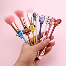 Bts Merchandise,BTS Makeup Brushes Set - 8pcs Makeup Brushes for Eyebrow, Eyeshadow, Foundation, Blending and Lips (BTS A)