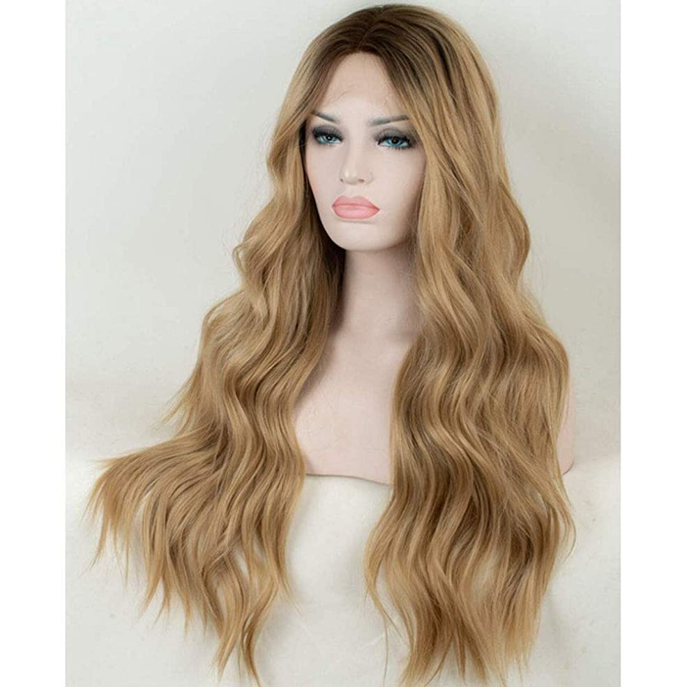 公平海峡反逆女性のための色のかつら長いウェーブのかかった髪、高密度温度合成かつら女性のグルーレスウェーブのかかったコスプレヘアウィッグ、女性のための耐熱繊維の髪のかつら、黄色のウィッグ29.52インチ