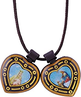 Needzo Our Lady of Mount Carmel and Saint Simon Heart Shaped Medals Scapular, 14 1/2 Inch, Pack of 12