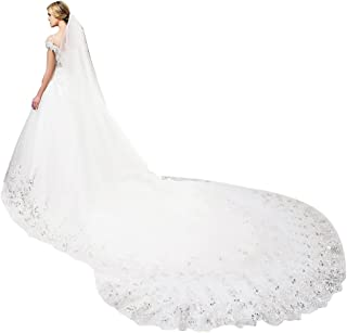 EllieHouse Women's Sequins Lace Wedding Bridal Veil With Comb S01