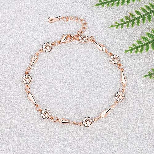 Armband Armreif Armkette Damen 925 Sterling Silber New Woman Modeschmuck Hochwertige Retro Einfache Blume Roségold Armband Länge 21Cm-1494