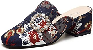 lcky National Half Slippers Printed Shoes Thick with Sandals Rhinestone Slippers