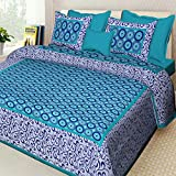 RRJAIPUR Queen Size Double Bedsheet with 2 Pillow Cotton Rajasthani Traditional Jaipuri Print