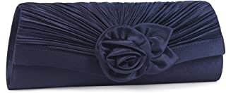 Women's Satin Pleated Flower Front Evening Bag Clutch Handbag