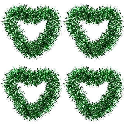 Disino 4 Piezas Verde Guirnalda Metálico de Oropel de Navidad, 2M Guirnalda Espumillón, Decoración Colgante...