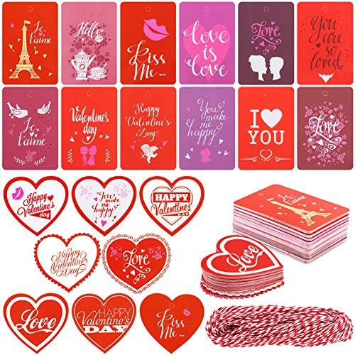 Tacobear 200 Etiquetas de Regalo San Valentín Etiquetas Papel Kraft con Cuerda 20 Estilos Decoracione Romántico Etiquetas de Regalo para San Valentín Boda Cumpleaños Fiesta