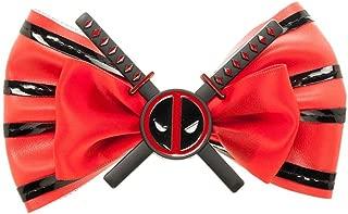 Deluxe Marvel Comics Deadpool Movie Red Hair Bow Clip Bowtie Swords N' Logo