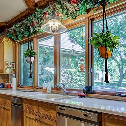 Koitoy Makramee Blumenampel Hängeampel für Kleine Blumentopf Innen oder Außen Hängender Blumentopf Pflanzenhalter Pflanzenhänger für Balkon Decke Schwarz (4) - 7