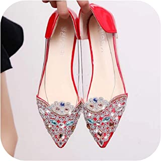 2019 Autumn Korean Version of The Sweet Rhinestone Pointed Flat Flat Shoes Shallow Mouth Scoop Shoes Transparent Women's Shoes