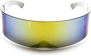 80s Futuristic Cyclops Cyberpunk Visor Sunglasses with Semi Translucent Mirrored Lens