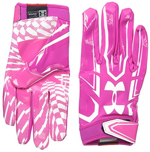Under Armour Men's F5 Football Receiver Gloves, Tropic Pink/White,...